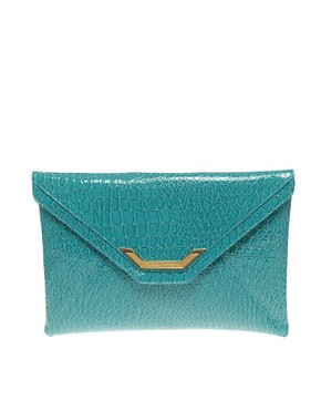 Image 1 of&#160;ASOS Faux Snake Metal Tip Clutch