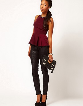 PEPLUM TOP PURPLE OFFICE CHIC LEATHER 