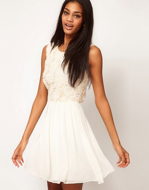 Image 1 of ASOS Skater Dress With Sequin and Floral Bodice