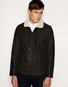 Barney's Originals Shearling Collar Flying Jacket