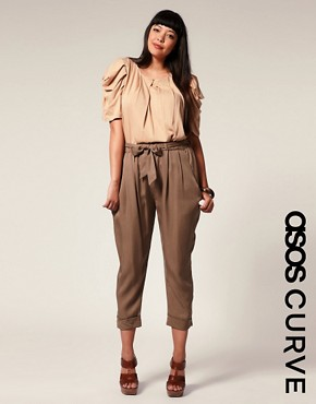 ASOS | ASOS CURVE Soft Belted Peg Leg Pants at ASOS :  asos curve neutrals peg leg plus