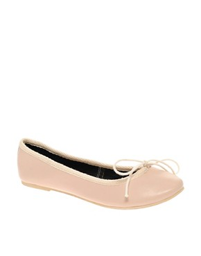 ASOS - Leather Bow Ballet Flats :  nude flats asos leather bow ballet pumps nude ballet flats ballet flats