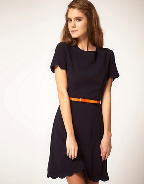 Image 1 of ASOS Skater Dress with Scallop Edge