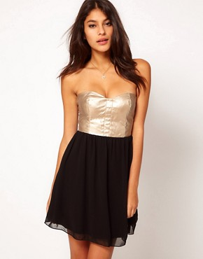 Rare Metallic Leather Look Bustier Dress from us.asos.com