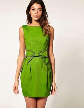 Image 1 ofASOS  DRESS with Embellished V Bow Back