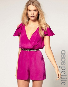Image 1 of ASOS PETITE Exclusive Playsuit With Ruffle Shoulder Detail