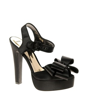 Image 1 of ASOS HYSTERICAL Two Part Platform Satin Sandal with Oversized Bow