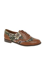 ASOS MAPLE Floral Tweed Lace Up Flat Shoes