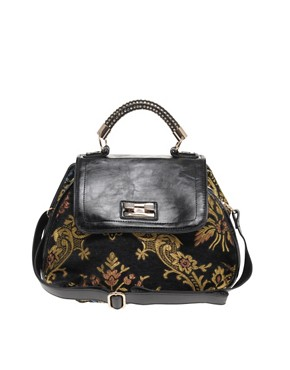 Image 1 of River Island Black Tapestry Satchel