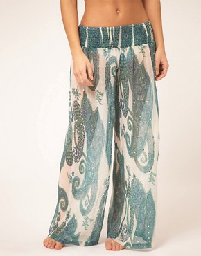 Image 4 of ASOS Embellished Printed Beach Pant