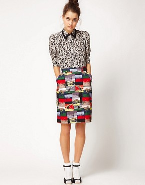 Image 1 of&#160;Peter Jensen Pencil Skirt In Safari Print
