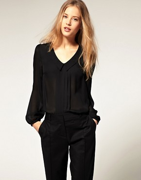 Image 1 ofASOS Blouse With Pintuck And Drop Collar
