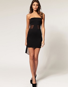 Image 4 of ASOS Strapless Dress with Mesh Cut Out
