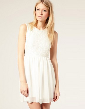 Image 2 ofASOS PETITE Exclusive Open Back Lace Mini Dress