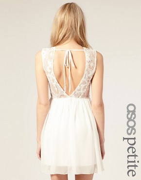 Image 1 ofASOS PETITE Exclusive Open Back Lace Mini Dress