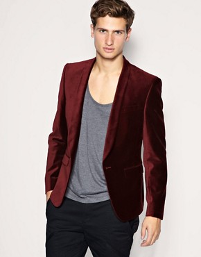 ASOS Slim Fit Shawl Collar Velvet Red Blazer