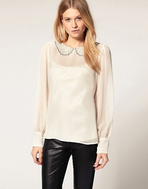 Image 1 ofOasis Beaded Collar Sheer Sleeve Top