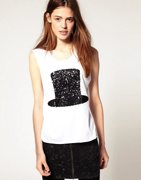Image 1 of ASOS Top With Sequin Hat Print