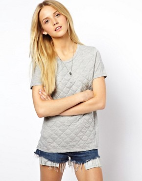 Image 1 of ASOS T-Shirt with Quilted Section