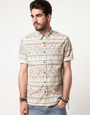 Image 1 ofASOS Short Sleeve Aztec Shirt