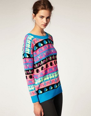 Image 1 of ASOS Jumper With Neon Hedgehog Design