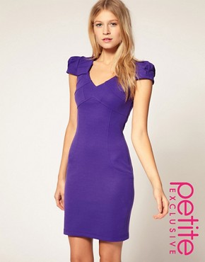 Image 1 of ASOS PETITE Exclusive Workwear Dress With Pleated Shoulder Detail