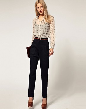 Image 1 of ASOS High Waist Peg Pants with Cinch Detail