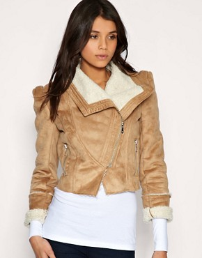 Image 1 of&#160;Vila Faux Shearling Biker Jacket With Zip Pocket Detail