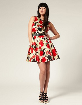 ASOS | ASOS CURVE Flared Floral Dress at ASOS :  mini dress trendy floral
