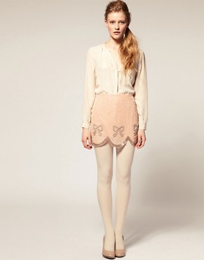 Image 1 of ASOS Mini Skirt with Bow Embellishment