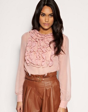 Image 1 of&#160;ASOS Lace And Georgette Ruffle Front Blouse