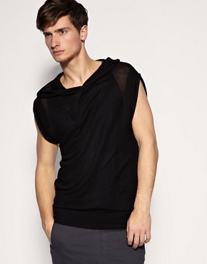 ASOS Mesh Hooded Knitted Tank