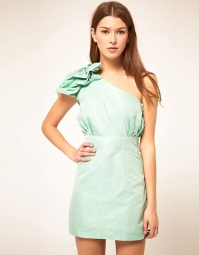 Image 1 of Liquorish Jacquard One Shoulder Dress