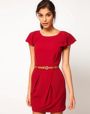 Image 1 of ASOS Mini Tulip Dress with Flute Sleeves