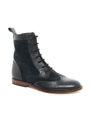Image 1 ofASOS Suede And Leather Brogue Boots With Leather Sole