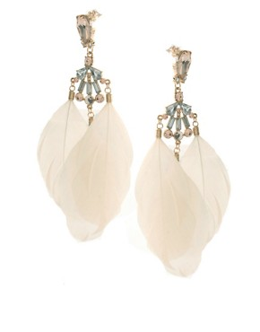 Image 1 of ASOS Cream Feather Drop Earrings with Stone Detail