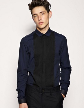 ASOS BLACK Pintuck Panel Shirt