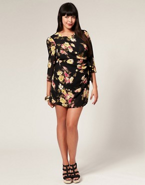 ASOS | ASOS CURVE Printed Ruched Waist Shift Dress at ASOS :  floral trendy smart rouched