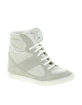 Image 1 of ASOS DENY Wedge High Top Trainers With Suede Detail