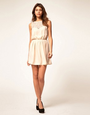 Image 4 of ASOS Skater Dress With Lace Cross Back