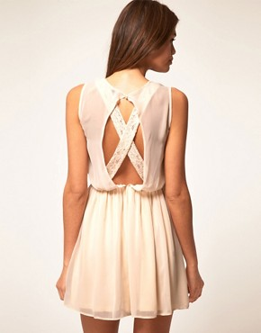 Image 1 of ASOS Skater Dress With Lace Cross Back