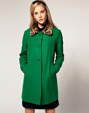 Image 1 of ASOS Leopard Collar 60s Coat