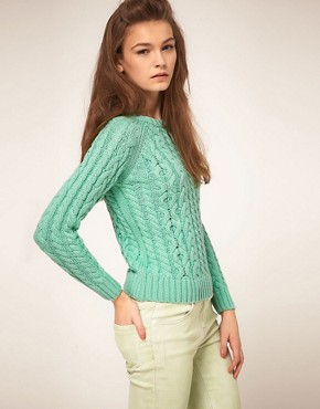 Image 1 of ASOS Aran Jumper In Pastel