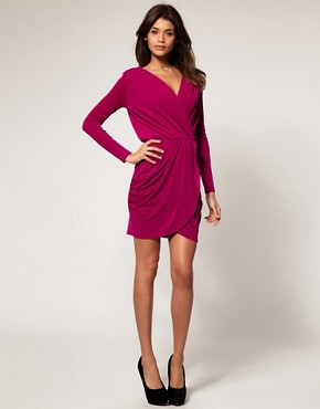 Image 4 of ASOS Drape Dress With Cross Front