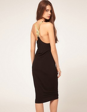 Image 1 of ASOS Midi Dress with Embellished Knot Back