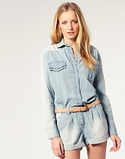 Sass & Bide The Romantic Chambray Open Back Playsuit