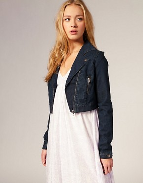 Selected Femme - Denim Biker Jacket :  jacket denim biker jacket selected femme denim biker jacket denim jacket