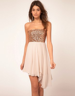 Image 1 of ASOS Sequin Bandeau Dress with Chiffon Skirt