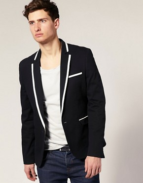 ASOS Slim Fit Blazer With Tipped Lapel