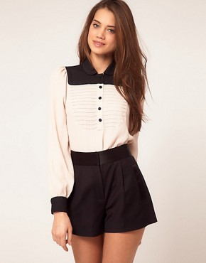 Image 1 of&#160;ASOS Blouse With Colourblock And Pintuck Bib